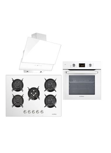 Luxell Luxell Ddt Beyaz Dokunmatik 8 Prog. Dijital Ankastre Set (5 Gözlü Ocak + 8Prg. Fırın + Kumandalı Dav.) Beyaz